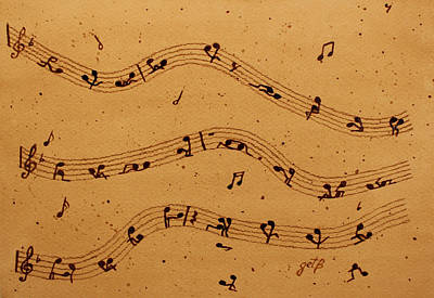 Kamasutra Music Coffee Painting Original by Georgeta  Blanaru