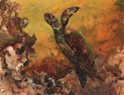 Ocean Turtle Painting - Kanaloa by Lisa Bunge