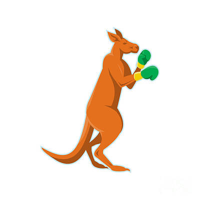 Kangaroo Boxer Boxing Retro Print by Retro Vectors