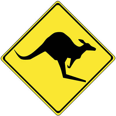 Kangaroo Digital Art - Kangaroo Crossing Sign by Marvin Blaine