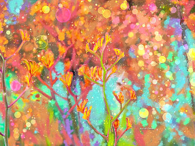 Kangaroo Flower In Spring Bubbles Print by Angela A Stanton