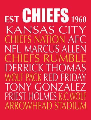 Kansas City Chiefs Print by Jaime Friedman