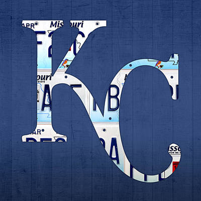 Baseball Mixed Media - Kansas City Royals Recycled License Plate Art Baseball Logo by Design Turnpike