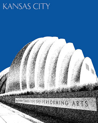Pen Digital Art - Kansas City Skyline 3 Kauffman Center - Royal Blue by DB Artist