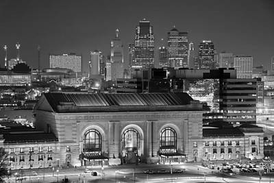 Evening Scenes Photograph - Kansas City Skyline At Night Kc Downtown Black And White Bw Panorama by Jon Holiday