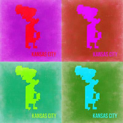 City Map Painting - Kansas Pop Art Map 2 by Naxart Studio