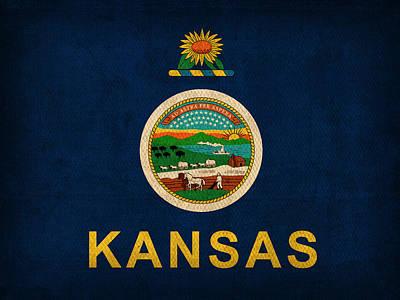 Kansas State Flag Art On Worn Canvas Print by Design Turnpike