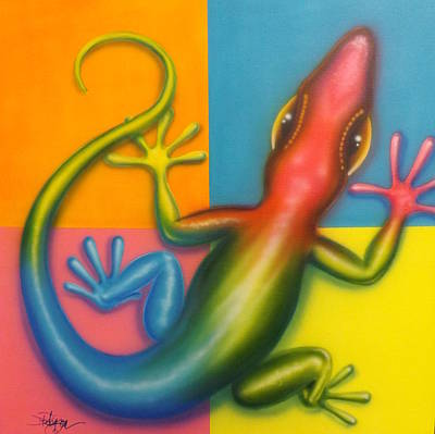 Gecko Painting - Karma Chameleon by Darren Robinson