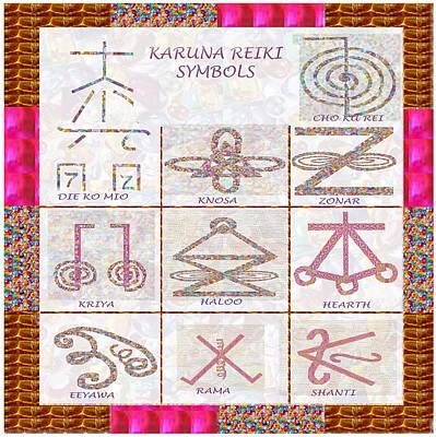 Karuna Reiki Healing Power Symbols Artwork With  Crystal Borders By Master Navinjoshi Print by Navin Joshi