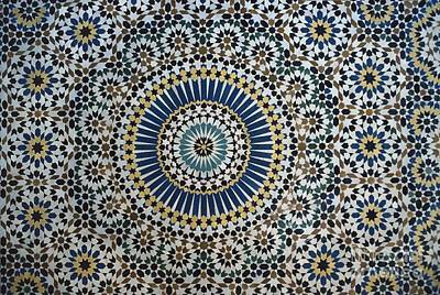 Repeating Ceramic Art - Kasbah Of Thamiel Glaoui Zellij Tilework Detail  by Moroccan School