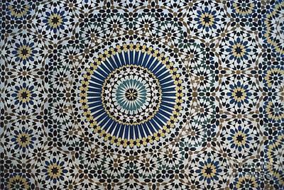 Morocco Ceramic Art - Kasbah Of Thamiel Glaoui Zellij Tilework Detail  by Moroccan School