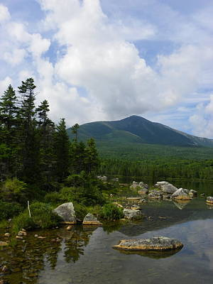 Katahdin From Sandy Stream Pond Print by Georgia Hamlin