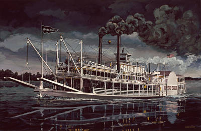 Steam Ships Painting - Spread Eagle Steamboat Night by Don  Langeneckert