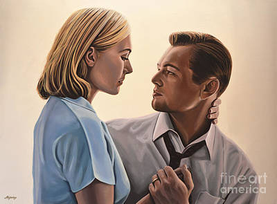 Aviator Print featuring the painting Kate Winslet And Leonardo Dicaprio by Paul Meijering