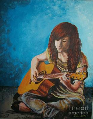 Introspective Painting - Katy Guitar by Lynda Coon