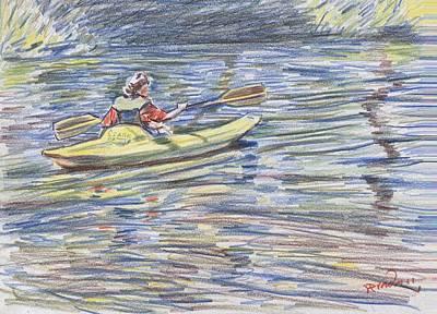 Kayak In The Rapids Print by Horacio Prada