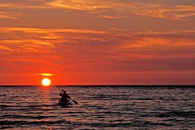 Canadian Sports Photograph - Kayaka At Sunset by Jim West
