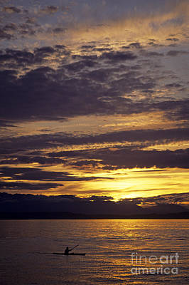 Kayaker On Puget Sound Sunset Print by Jim Corwin