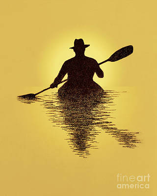 Watersports Drawing - Kayaker Sunset by Garry McMichael