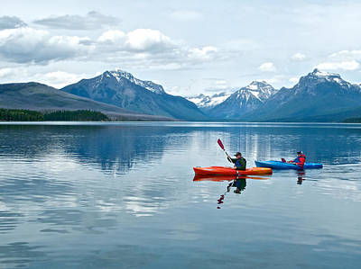 Kayakers On Lake Mcdonald In Glacier National Park-montana Original by Ruth Hager