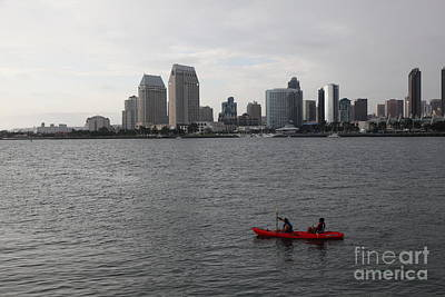 San Diego Embarcadero Park Photograph - Kayaking Along The San Diego Harbor Overlooking The San Diego Skyline 5d24376 by Wingsdomain Art and Photography