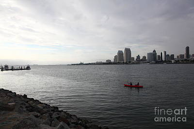 San Diego Embarcadero Park Photograph - Kayaking Along The San Diego Harbor Overlooking The San Diego Skyline 5d24377 by Wingsdomain Art and Photography