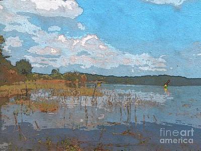 Kayaking At Lake Juliette Print by Donna Brown