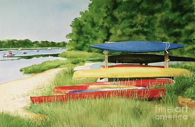 Kayaks In Limbo Print by Karol Wyckoff