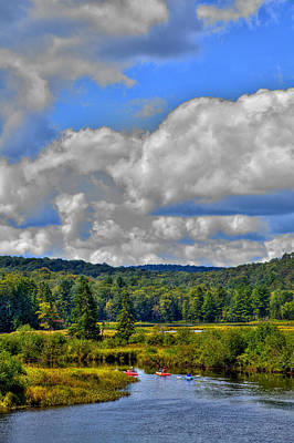 Autumn Photograph - Kayaks On The Moose River - Old Forge New York by David Patterson