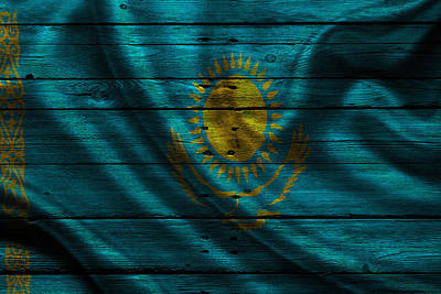Flags Photograph - Kazakhstan by Joe Hamilton