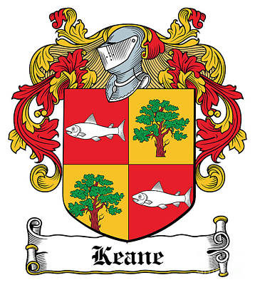 Keane Coat Of Arms Clare Ireland Print by Heraldry