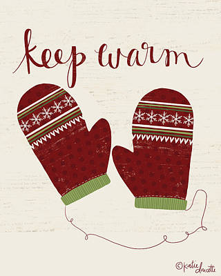 Christmas Painting - Keep Warm by Katie Doucette