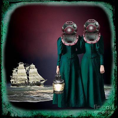 Diving Helmet Digital Art - Keepers Of The Deep by Carolyn Slattery