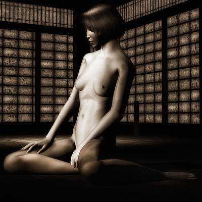Undressing Mixed Media - Keiko Nude No.3 by Emma P