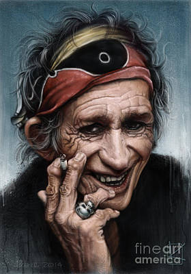 Musicians Drawing - Keith Richards by Andre Koekemoer