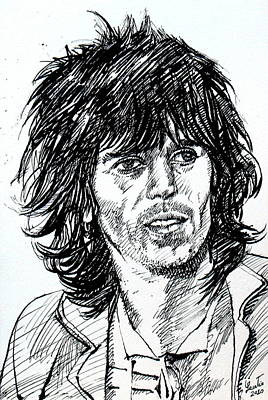Keith Richards Painting - Keith Richards Black Ink Portrait by Fabrizio Cassetta