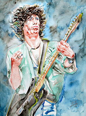 Keith Richards Painting - Keith Richards Playing The Guitar Watercolor Portrait by Fabrizio Cassetta