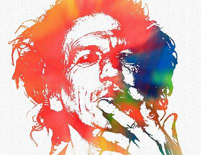 Rock The World Digital Art - Keith Richards Pop Art by Dan Sproul