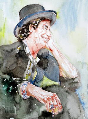 Keith Richards Painting - Keith Richards Sitting With Cigarette And Smiling Watercolor Portrait by Fabrizio Cassetta