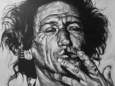 Musicians Drawing - Keith Richards by Steve Hunter