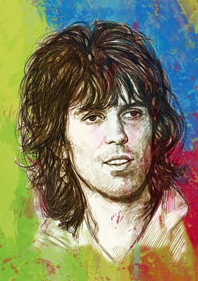 Mick Jagger Mixed Media - Keith Richards Stylised Pop Art Drawing Potrait Poster by Kim Wang