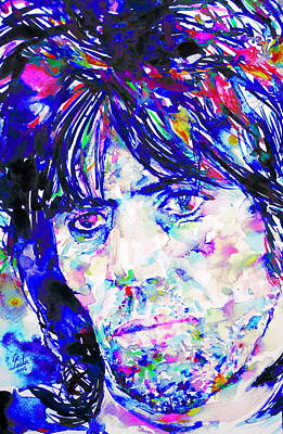 Keith Richards Painting - Keith Richards - Watercolor Portrait by Fabrizio Cassetta