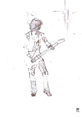 Keith Richards Drawing - Keith Richards With The New Barbarians by Sean Connolly