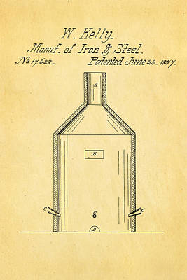 Kelly Iron And Steel Patent Art 1857 Print by Ian Monk