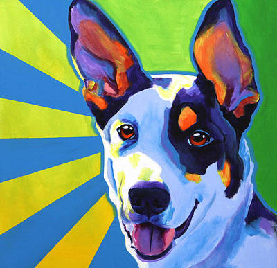 Funny Dog Painting - Kelpie - Oakey by Alicia VanNoy Call