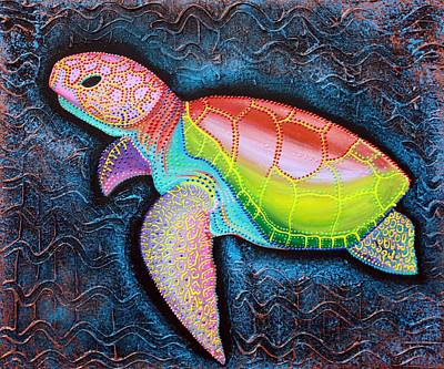 Reptiles Mixed Media - Kemp's Ridley Sea Turtle by Laura Barbosa