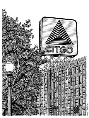 Park Scene Drawing - Kenmore Square Citgo Sign by Conor Plunkett