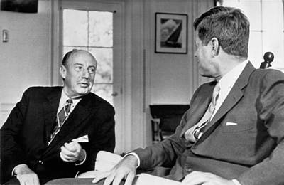 Kennedy And Adlai Stevenson Print by Underwood Archives