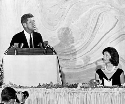 President And First Lady Photograph - Kennedy Speaks At Fundraiser by Underwood Archives