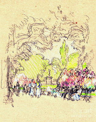 Crayons Tree Photograph - Kensington Park Benches 1901 by Padre Art